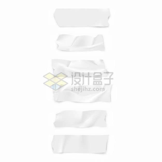6款白色的胶带纸胶布效果png图片素材