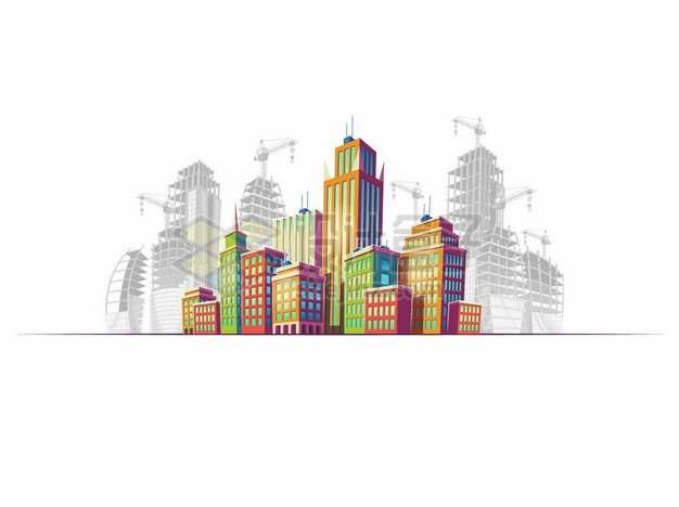 漫画风格城市高楼大厦建筑群247207png矢量图片素材