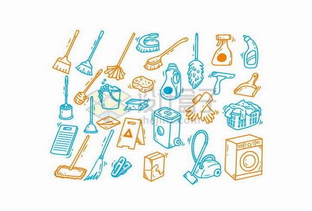 扫帚畚箕浇水壶吸尘器洗衣机等手绘清洁工具385946png矢量图片素材