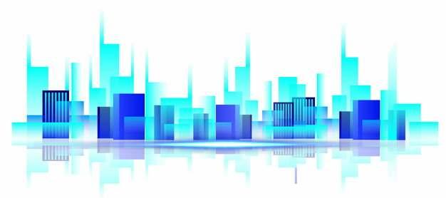 蓝色色块城市地平线建筑487712png矢量图片素材