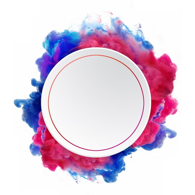 抽象红蓝色烟雾环绕的圆形边框文本框信息框标题框149177png图片免抠素材 边框纹理-第1张