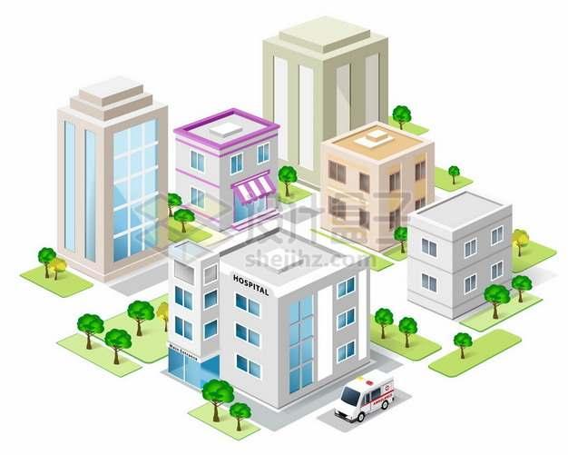 2.5D风格城市建筑医院大楼367665png矢量图片素材