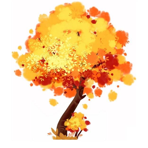 秋天金黄色树叶的大树水彩插画972730png图片免抠素材 生物自然-第1张