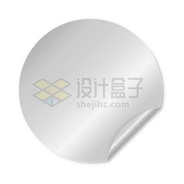 银灰色的圆形金属光泽贴纸翘了一边791975png矢量图片素材