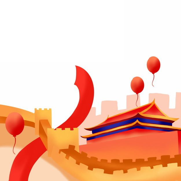 扁平化风格万里长城天安门等国庆节装饰946489png免抠图片素材