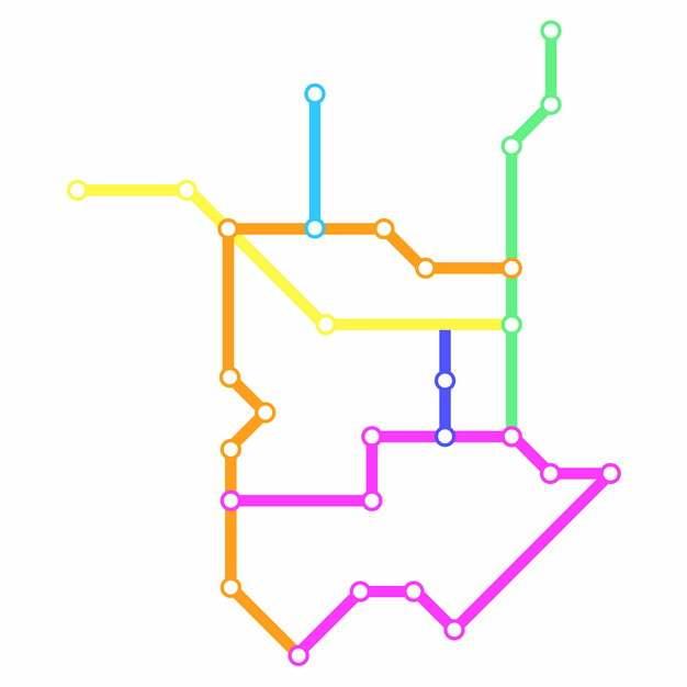 彩色线条泰州地铁线路规划矢量图片922105