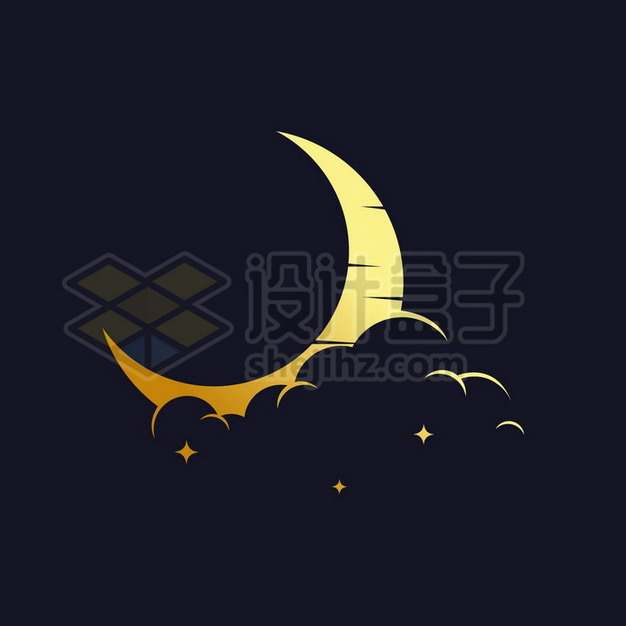 金色的月亮弯月logo设计方案994407png矢量图片素材