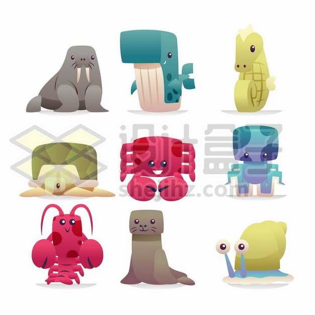 卡通海豹鲸鱼海马乌龟螃蟹章鱼龙虾海狮蜗牛919423png矢量图片素材