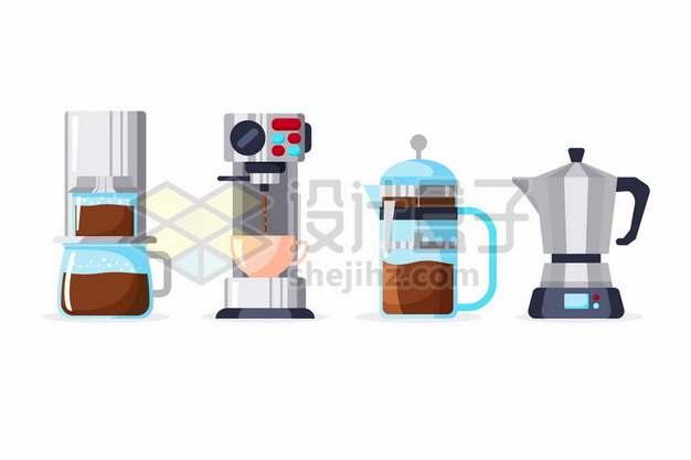 4种扁平化风格煮咖啡机404096png矢量图片素材