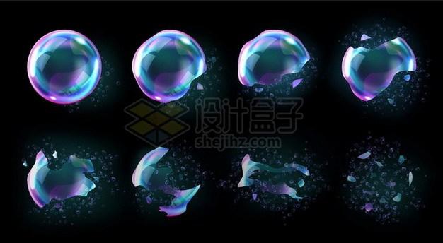 逐渐破碎的肥皂泡泡348379png矢量图片素材 效果元素-第1张