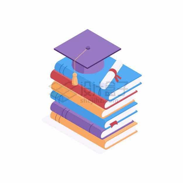 2.5D风格高高的书本堆上的博士帽学士帽和毕业证书png图片素材