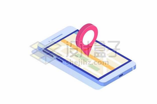 2.5D风格手机地图上的定位标志928463png矢量图片素材