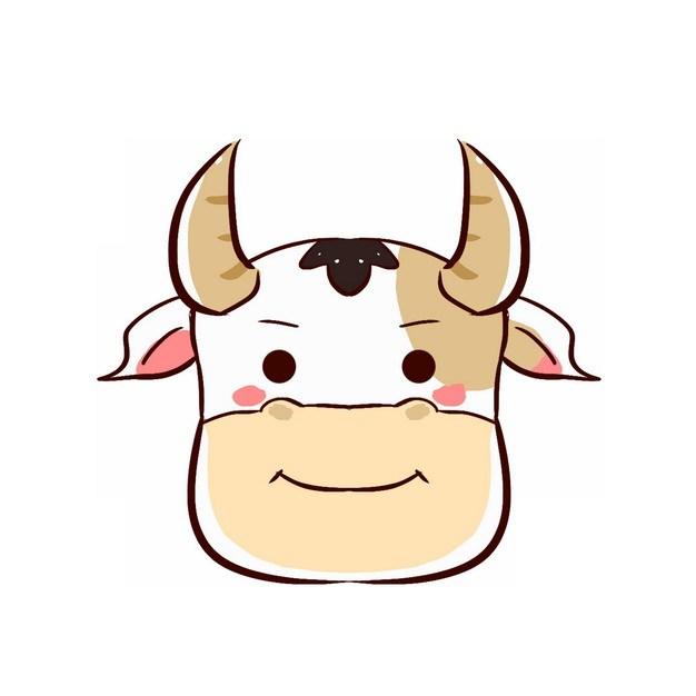 可爱的卡通牛头png图片素材 生物自然-第1张