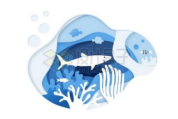 剪纸叠加风格珊瑚礁和鱼群853422png矢量图片素材 生物自然-第1张