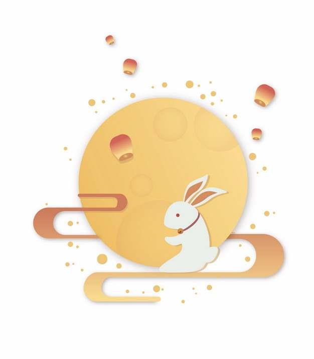 卡通玉兔和月亮孔明灯中秋节939819png矢量图片素材