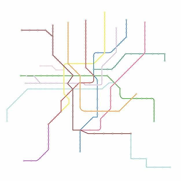 彩色线条上海地铁线路规划矢量图片562740
