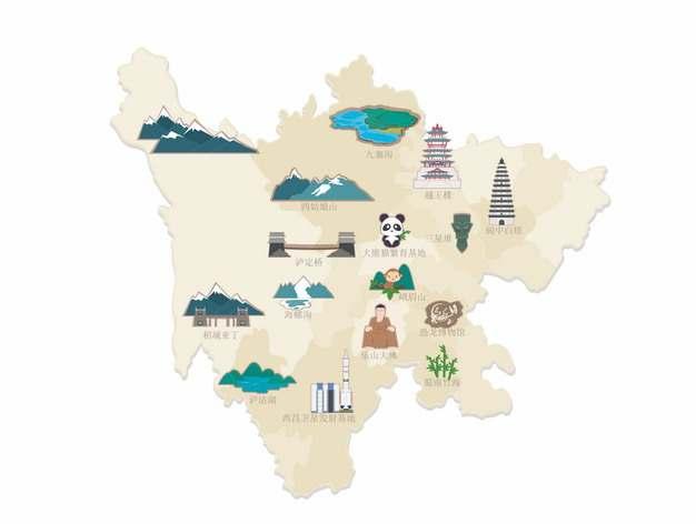 四川省知名景点旅游地图225292png图片素材