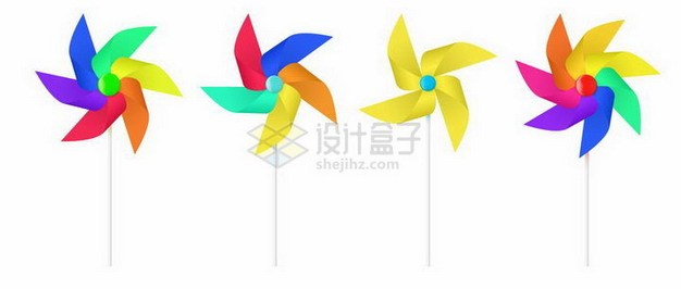 4种彩色纸风车165042png矢量图片素材 休闲娱乐-第1张