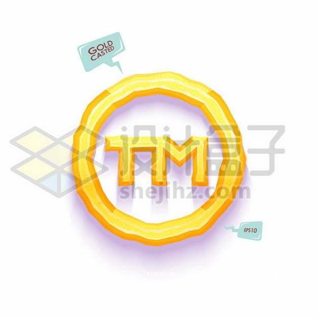 金色立体TM圈商标注册符号385369png矢量图片素材