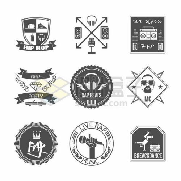 9款黑白色班徽设计图案大全217306png矢量图片素材