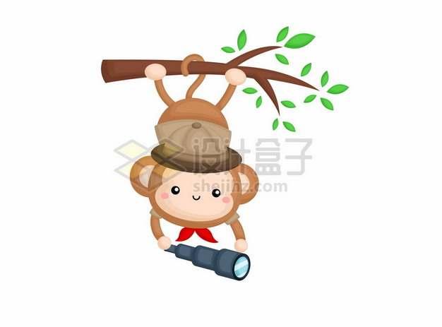 卡通小猴子倒挂在树枝上拿着望远镜猴子捞月761769png矢量图片素材