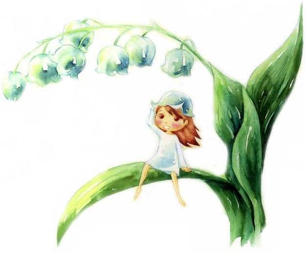 铃兰花卡通小精灵彩绘插画153879png图片素材