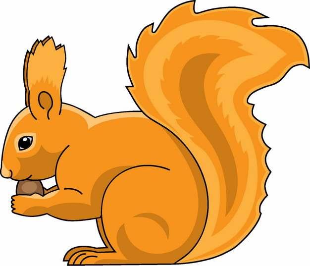 卡通松鼠吃松果手绘插画498902png图片素材