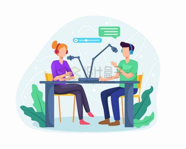两个交谈的电台主播扁平插画png图片素材