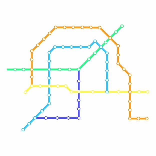 彩色线条烟台地铁线路规划矢量图片585649