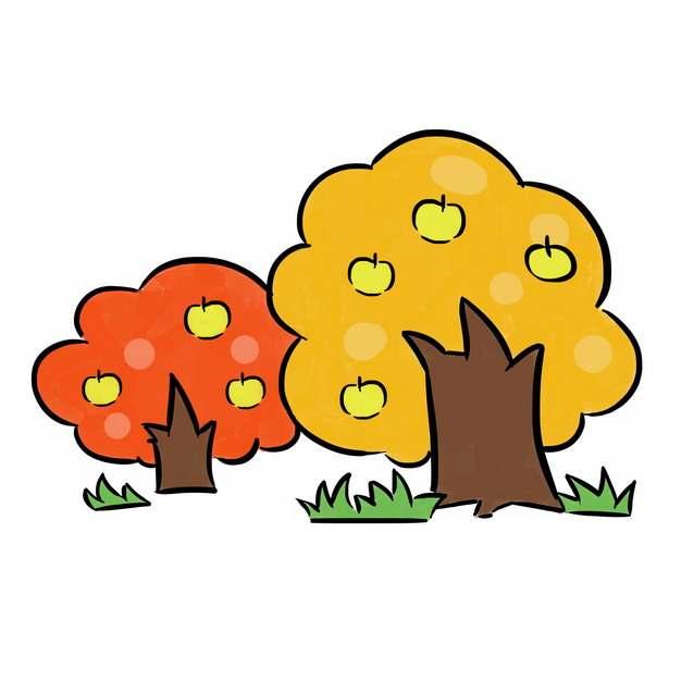 两个卡通果树插画png图片素材