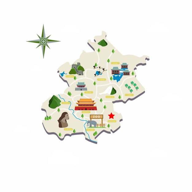 北京知名景点旅游地图568329png图片素材