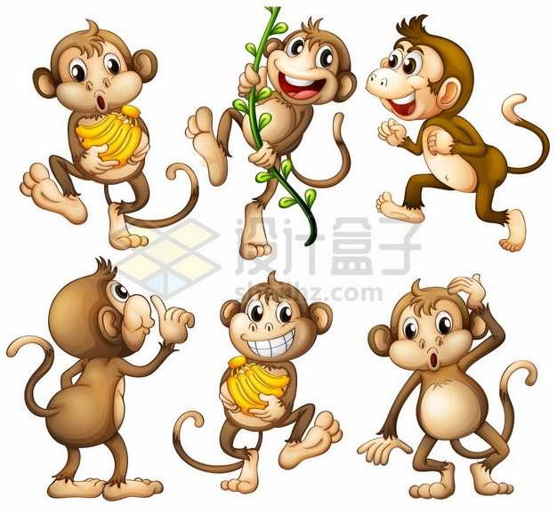 6款可爱卡通猴子724526png矢量图片素材
