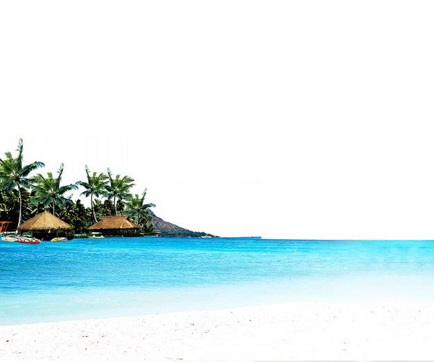 蔚蓝色大海和沙滩海滩边的椰子树小木屋旅游风景区306836png图片素材 生物自然-第1张