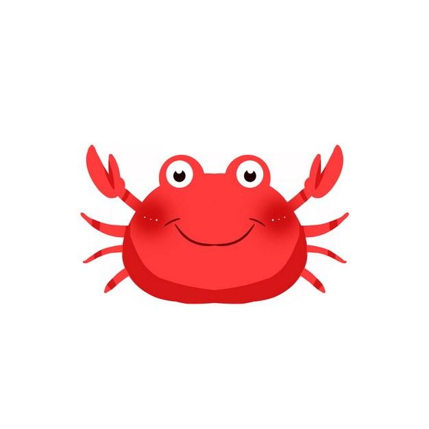 举着钳子的卡通红色螃蟹png图片素材 生物自然-第1张