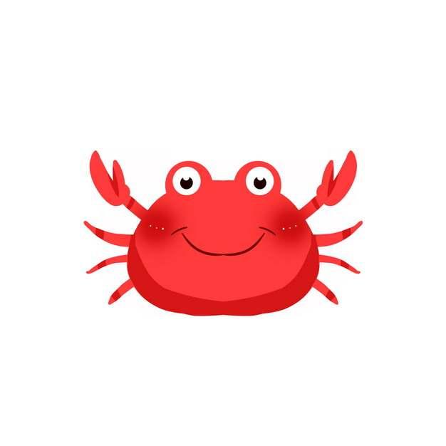 举着钳子的卡通红色螃蟹png图片素材