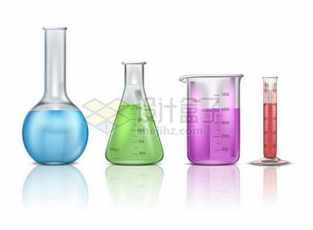 长颈烧瓶锥形瓶烧杯量筒等逼真化学实验仪器394119png矢量图片素材