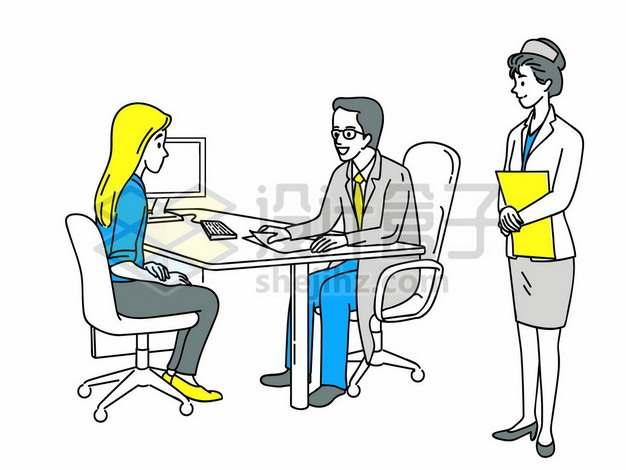 医院里和病人交流的妇科医生与护士手绘插画127041png矢量图片素材