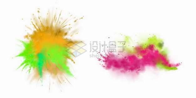 2款彩色粉末爆炸效果和烟雾效果981950png矢量图片素材