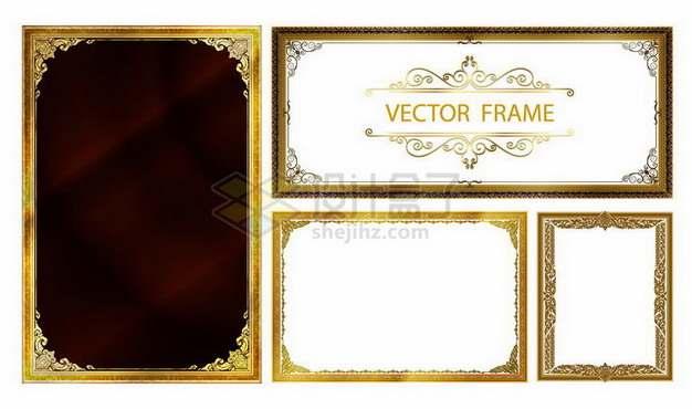 4种复古风格雍容华贵的金色相框边框文本框528686png矢量图片素材