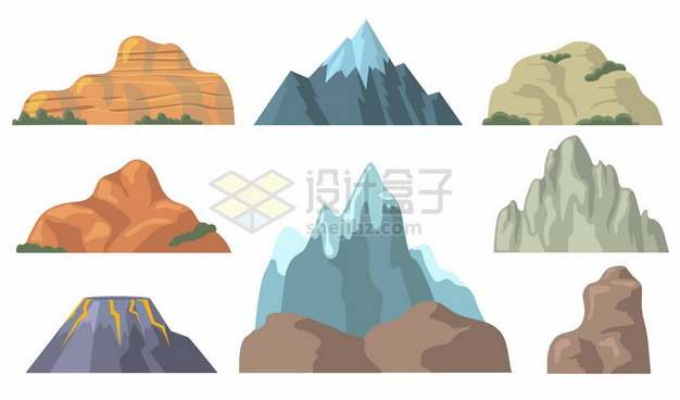 8款卡通高山雪山火山等山脉大山181209png矢量图片素材