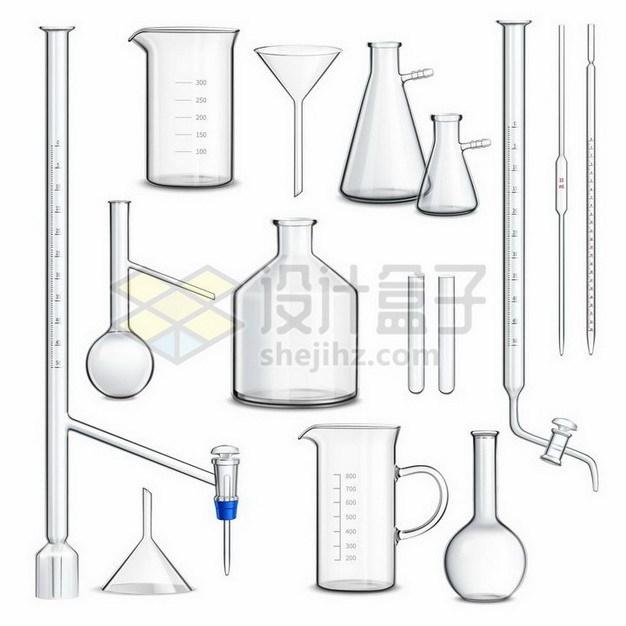 滴定管量筒量杯漏斗烧瓶烧杯等逼真的玻璃化学实验仪器359152png矢量图片素材 科学地理-第1张