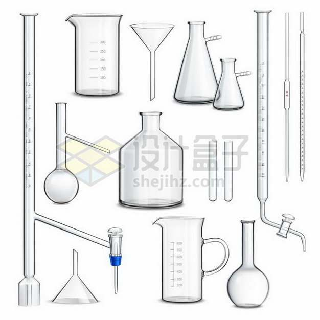 滴定管量筒量杯漏斗烧瓶烧杯等逼真的玻璃化学实验仪器359152png矢量图片素材