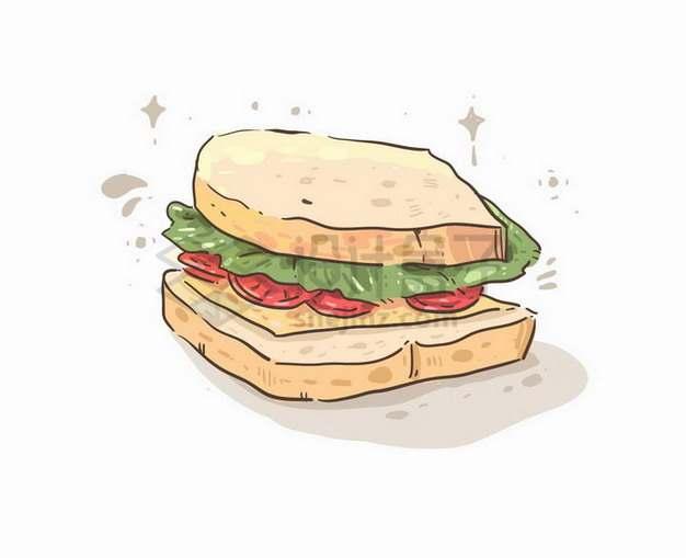 三明治美味美食彩绘插画250939png矢量图片素材