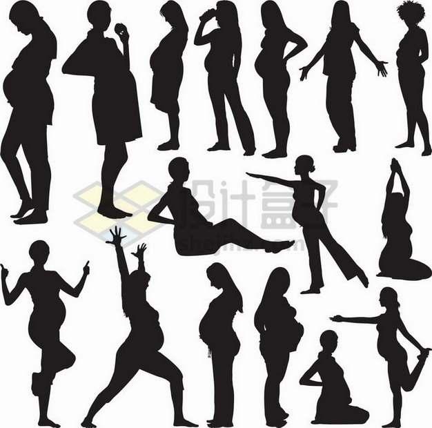 各种怀孕的孕妇剪影788165png矢量图片素材