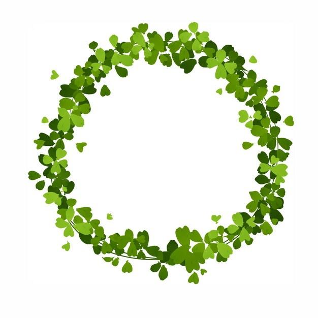 绿色四叶草组成的花环537374png图片免抠素材 生物自然-第1张