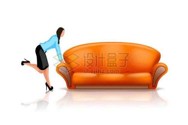 橙色多人沙发和美女101496png矢量图片素材