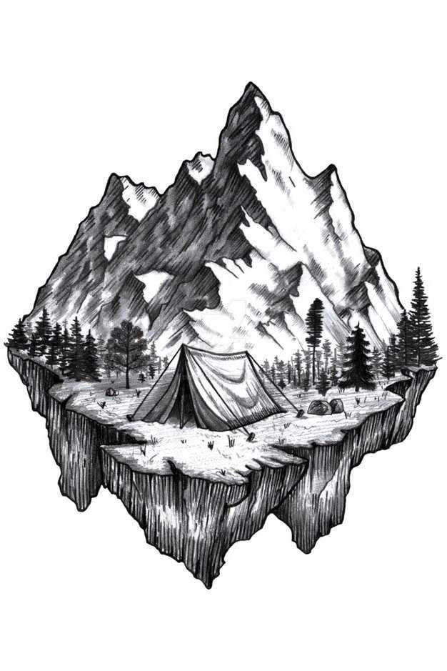 铅笔素描插画风格大山和露营地悬空岛风景速写782918png免抠图片素材