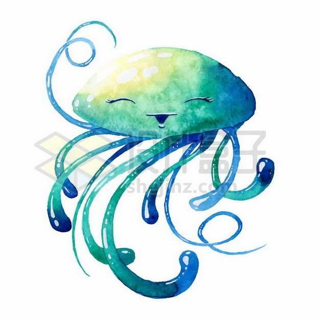 微笑的绿色卡通水母手绘插画411349png矢量图片素材