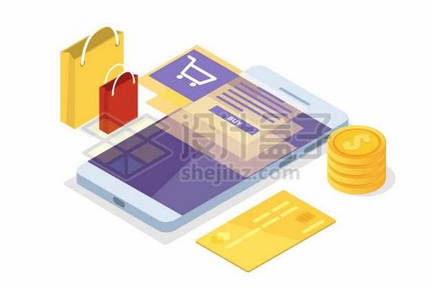 2.5D风格手机上的购物页面和信用卡金币933968png矢量图片素材