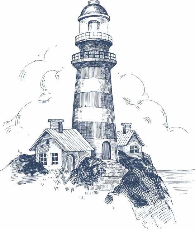 铅笔素描插画风格海边山上的灯塔建筑风景速写683059png免抠图片素材